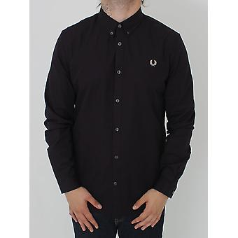 Fred Perry Three Colour Basketweave Shirt - Mahogany