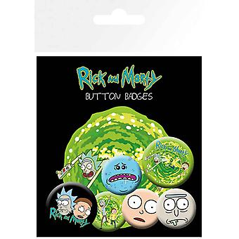 Rick and Morty Badge Pack X 6 Characters new Official 4 x 25mm & 2 x 32mm