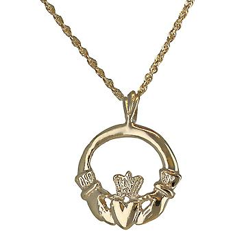 10k Yellow Gold Friendship Hands Holding Heart Claddagh Round Necklace Pendant
