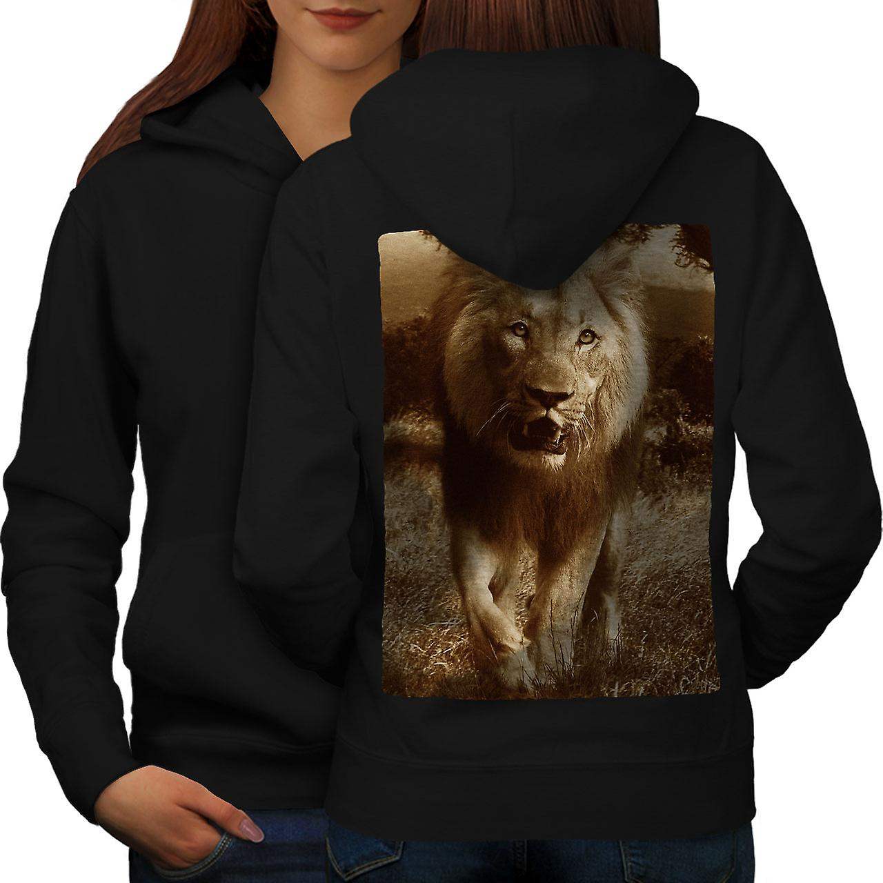 Lion Safari Nature femmes noirHoodie dos
