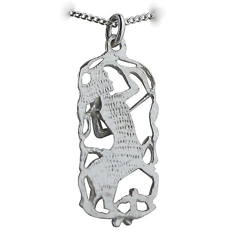 Silver 33x17mm Sagittarius Zodiac Pendant with a curb Chain 18 inches