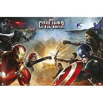 Captain America burgeroorlog Teams Poster Poster afdrukken