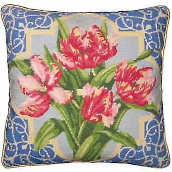 Rosa Papagei Tulpen Needlepoint Canvas