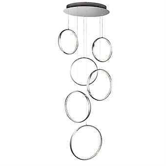 Rings Chrome Six Light Led Pendant - Searchlight 3166-6cc