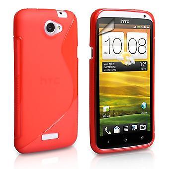 Caseflex HTC один X чехол гель S-Line - красный