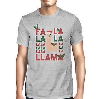 Falala Llama Mens Grey Trendy Stylish Cute Tee Gift For Him