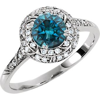 1ct Blue Diamond Sculptural Engagement Ring 14K White Gold