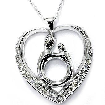 1/3ct Diamond Mother Holding Child Pendant & 18