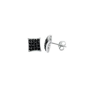 925 sølv øredobber - 4 x 4 svart