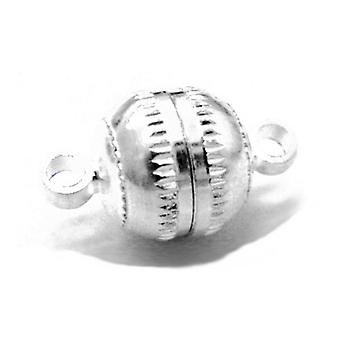 Packet 4 x Silver Tone Plated Brass Round Magnetic Clasps 8mm HA06920