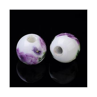Packet 10 x White/Purple Porcelain 10mm Plain Round Beads HA27220