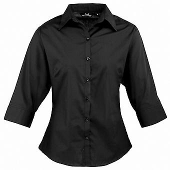 Premier Womens/Ladies Poplin Polycotton Quarter Sleeve Business Blouse