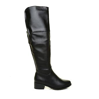 DEBBIE Black PU Leather Knee High Riding Boots