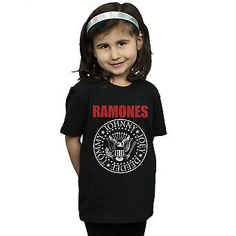 Ramones Girls Red Text Seal T-Shirt