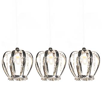 Trio Leuchten Set of 3 Art Deco Pendant Lamp Steel - Crown