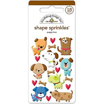 Doodlebug Sprinkles Adhesive Glossy Enamel Shapes 18/Pkg-Puppy Love Shapes