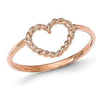 Ladies 14K Rose Pink Gold Polished and Textured Heart Ring