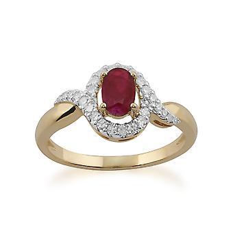 Gemondo 9ct Gelb Gold 0,63 ct Rubin & Diamant-Ring