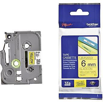 Étiquetage ruban Brother TZe, couleur de ruban TZe-611 TZ: police jaune couleur: noir 6 mm 8 m