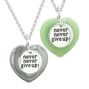 Amulets Never Give Up Love Couples or Best Friends Puffy Hearts Green Quartz Hematite Necklaces