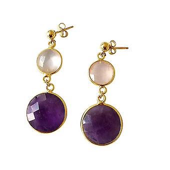 Gemshine - Damen - Ohrringe - 925 Silber - Vergoldet - Rosenquarz - Amethyst - Rosa - Violett - Lila - Facettiert - 4 cm