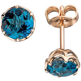 Blautopaz серьги 585 золото розовое золото 2 синий топазы синий Лондон голубой Серьги