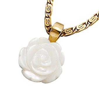 Pendant gold 333, gold ROSE pendant mother of Pearl