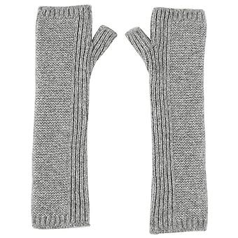 Johnstons of Elgin Cashmere Purl Stitch Long Wrist Warmer Gloves - Light Grey