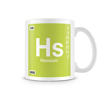 Scientific Printed Mug Featuring Element Symbol 108 Hs - Hassium