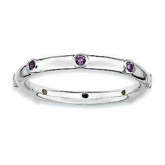 Sterling Silber Lünette poliert rhodiniert stapelbar Ausdrücke Amethyst Ring - Ring-Größe: 5 bis 10