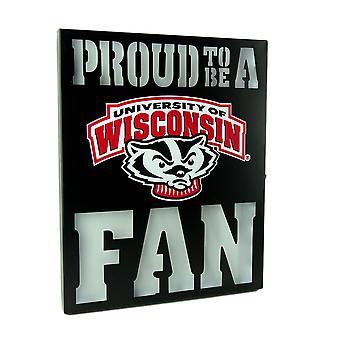 Trots op dat een Fan van de Wisconsin dassen LED verlicht knipsel metalen wand teken