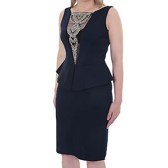 Ladies Sleeveless Diamante Mesh V Neck Low Back Peplum Knee Length Dress