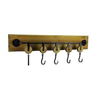Rustic Wood and Metal 5 Pulley Decorative Wall Hook Rack