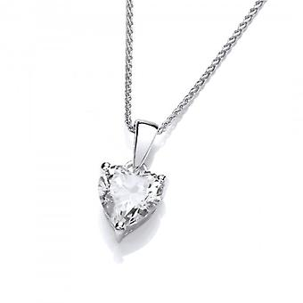 "Cavendish French Single Crystal CZ Heart Sterling Silver Pendant with 16 - 18"" Silver Chain"