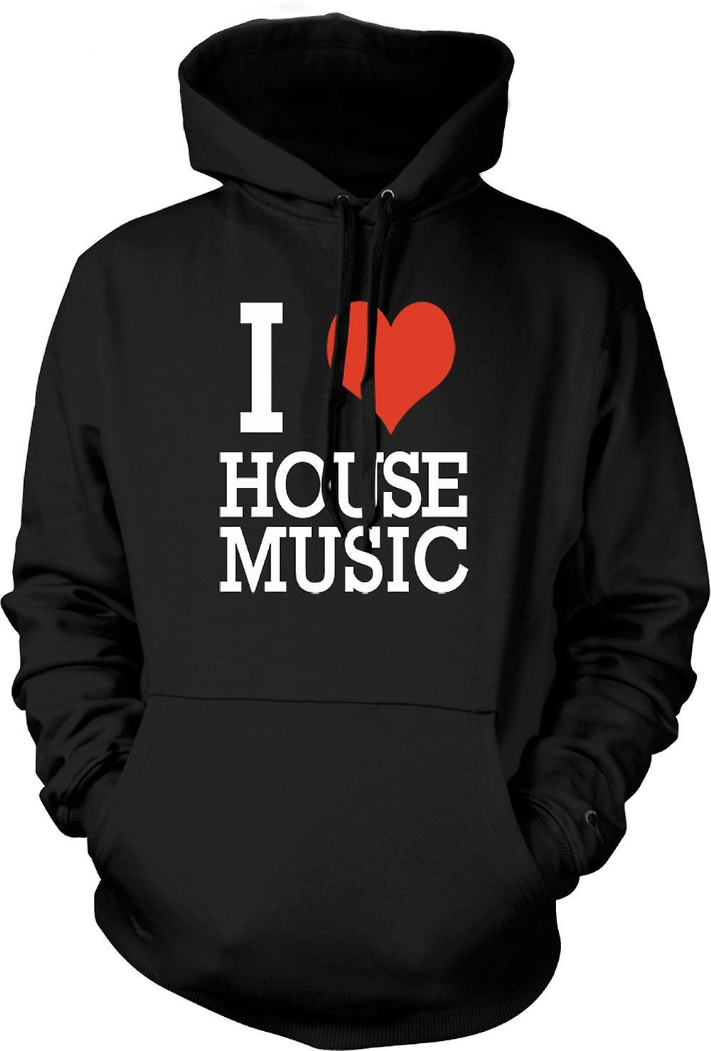 Mens Hoodie - Je Love Heart House Music - DJ
