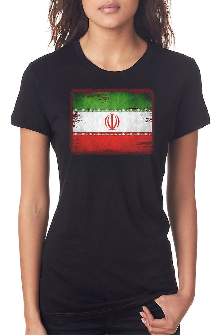 Iran Iranian Grunge Flag Ladies T Shirt