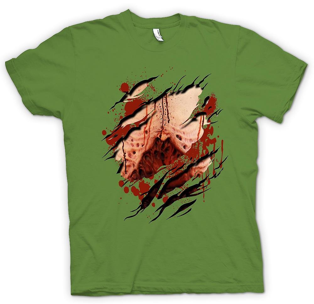 Heren T-shirt - Zombie Undead bloederige longen geript Design