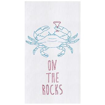 On The Rocks Blue Crab with Cocktail Flour Sack Kitchen Towel Cotton 27 Inch