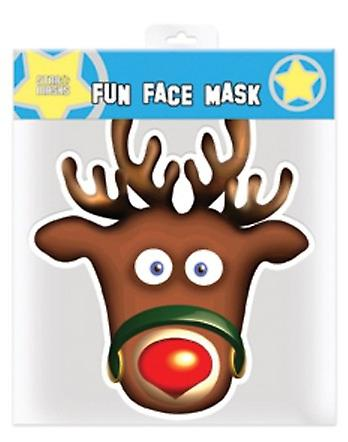 Rudolph The Red Nosed Reindeer Christmas Party Card Face Mask