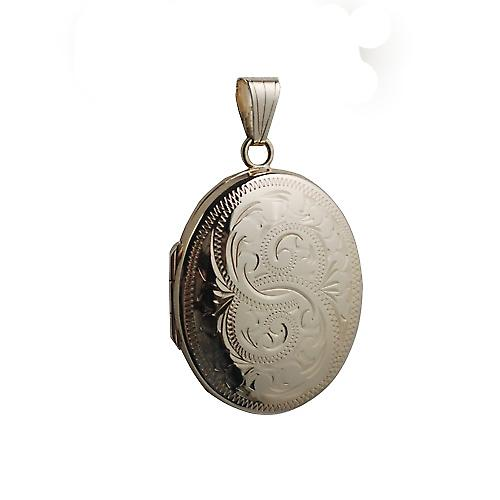9ct Gold 30x24mm hand engraved oval Locket