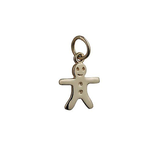 9ct Gold 11x12mm Gingerbread man Pendant or Charm
