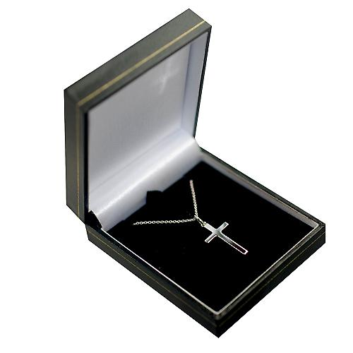 Silver 25x15mm diamond cut star solid block Cross with a rolo Chain 16 inches Only Suitable for Children