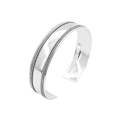 Double Row Silver Bali Cuff Bracelet w/ Woven Exclusive Mothers Gift