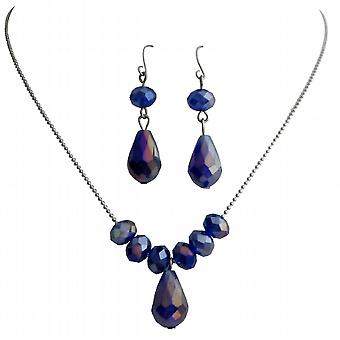 Beaded Necklace Earrings Dark Sapphire Crystals Wedding Gifts