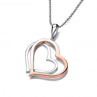 Cavendish Français en argent et pendentif coeur en cuivre Twin sans chaîne