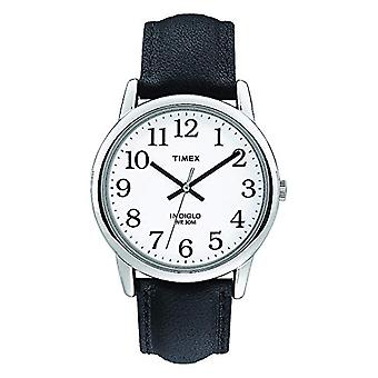 Timex T20501 wrist watch for men, leather, silver/black