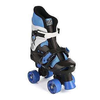 Xootz Kid's Quad skøjter, blå/sort/hvid rulleskøjter, størrelse 3-5