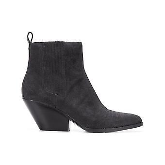 Michael Kors Stitch Black Suede Ankle Boots