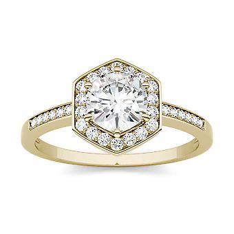 14K żółty złoto Moissanite przez Charles idealna Colvard 6mm okrągły pierścionek zaręczynowy, 1.10cttw rosy