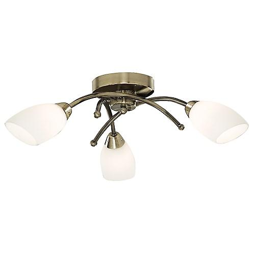 Searchlight 8183-3AB Opera Traditional Brass Ceiling Flush 3 Light With Opal Glass